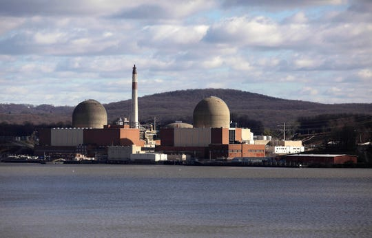 The Indian Point nuclear power plant in Buchanan, New York, can be seen across the Hudson River from Tomkins Cove, Rockland County, New York.