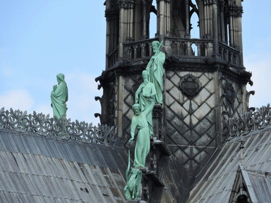 Statues of the apostles on the roof of Notre Dame.