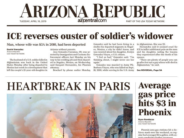 The front page of the April 16, 2019 edition of the Arizona Republic.
