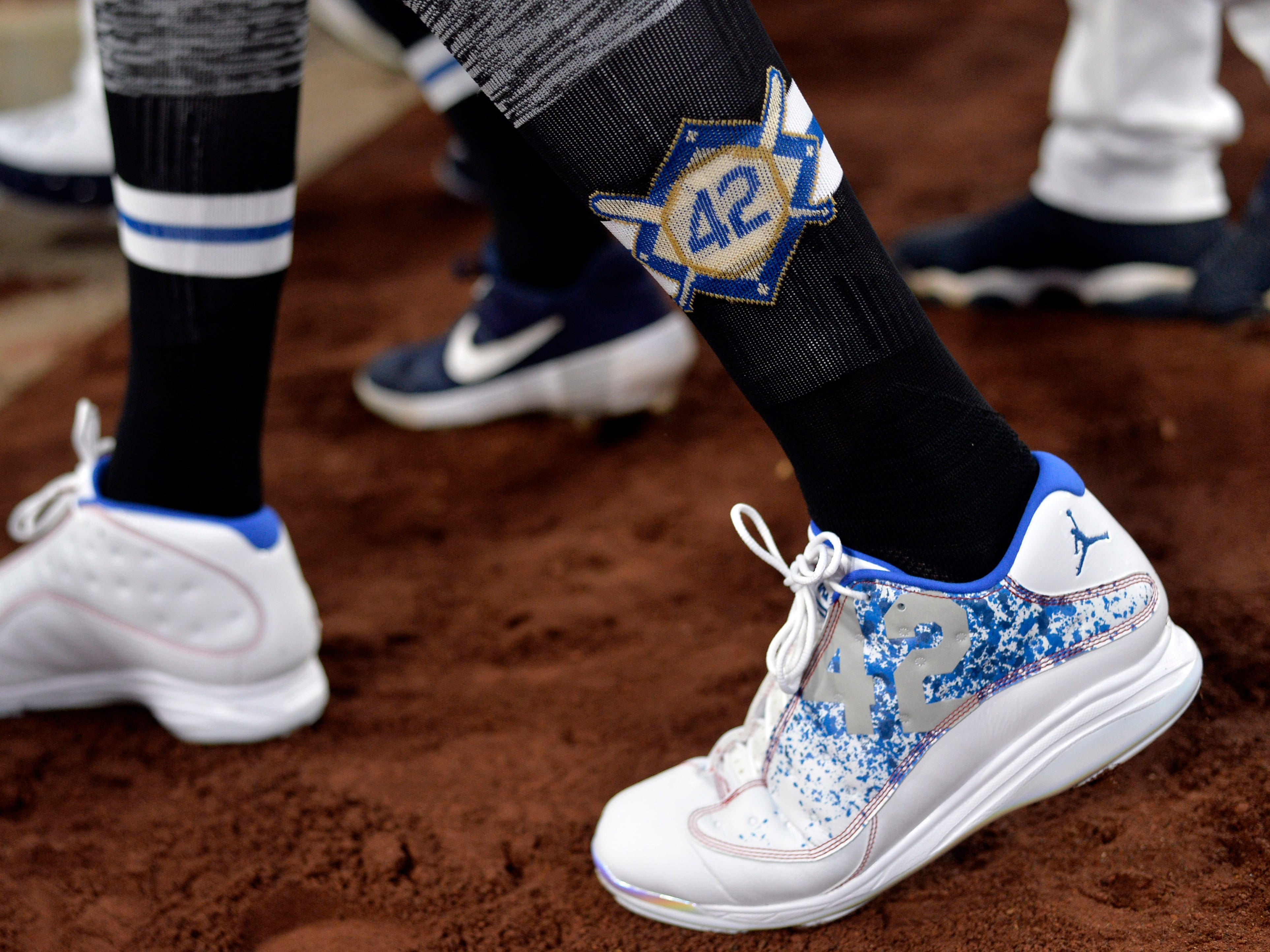 A detailed view of the cleats worn by San Diego Padres third baseman Manny Machado before the game against the Colorado Rockies at Petco Park.