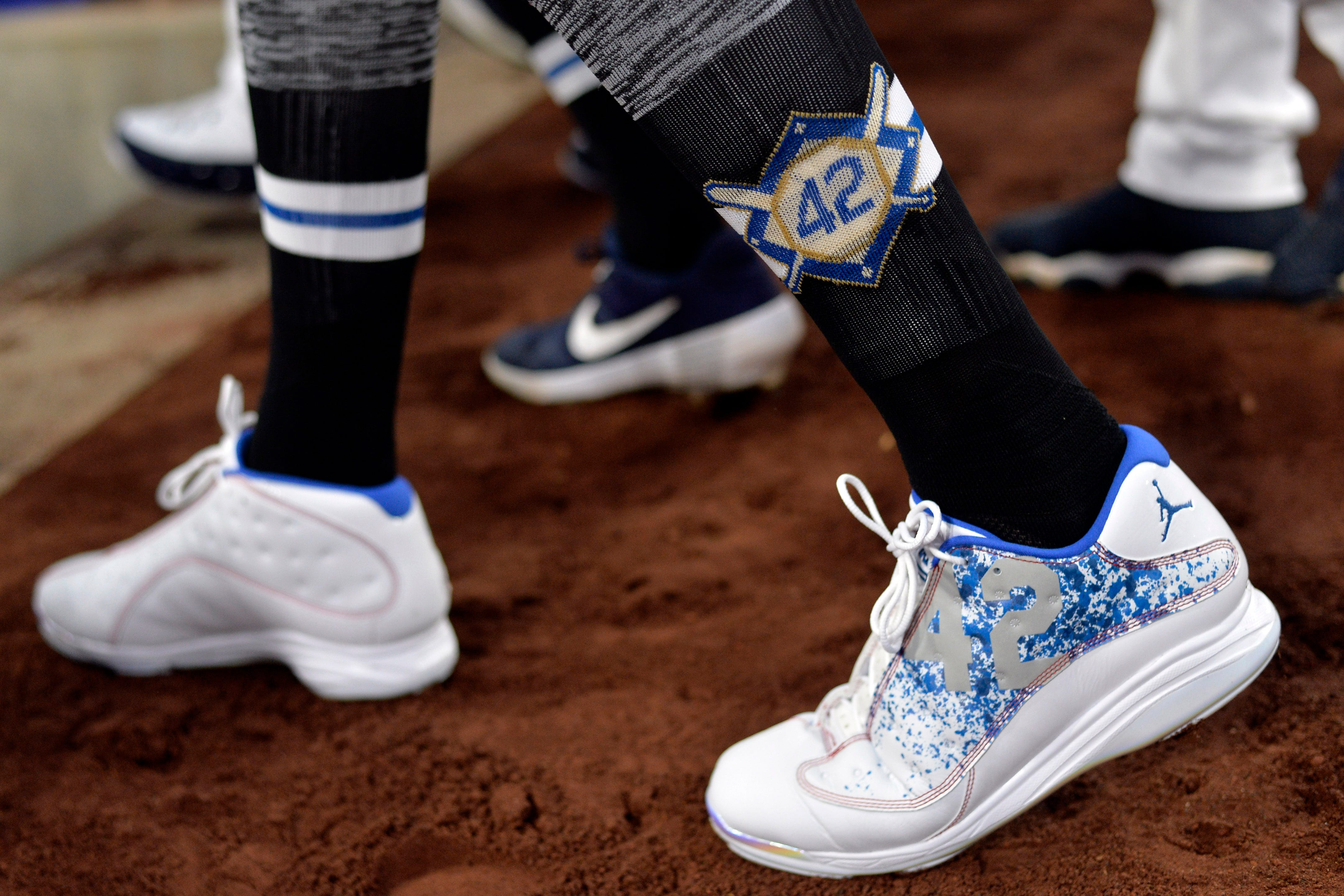 A detailed view of the cleats worn by San Diego Padres third baseman Manny Machado before the game against the Colorado Rockies at Petco Park. - Rays Pitcher Breaks Toe In Freak Accident