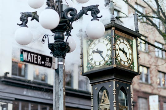 The vintage steam clock is a favorite photo opportunity for visitors to Vancouver's Gastown neighborhood.