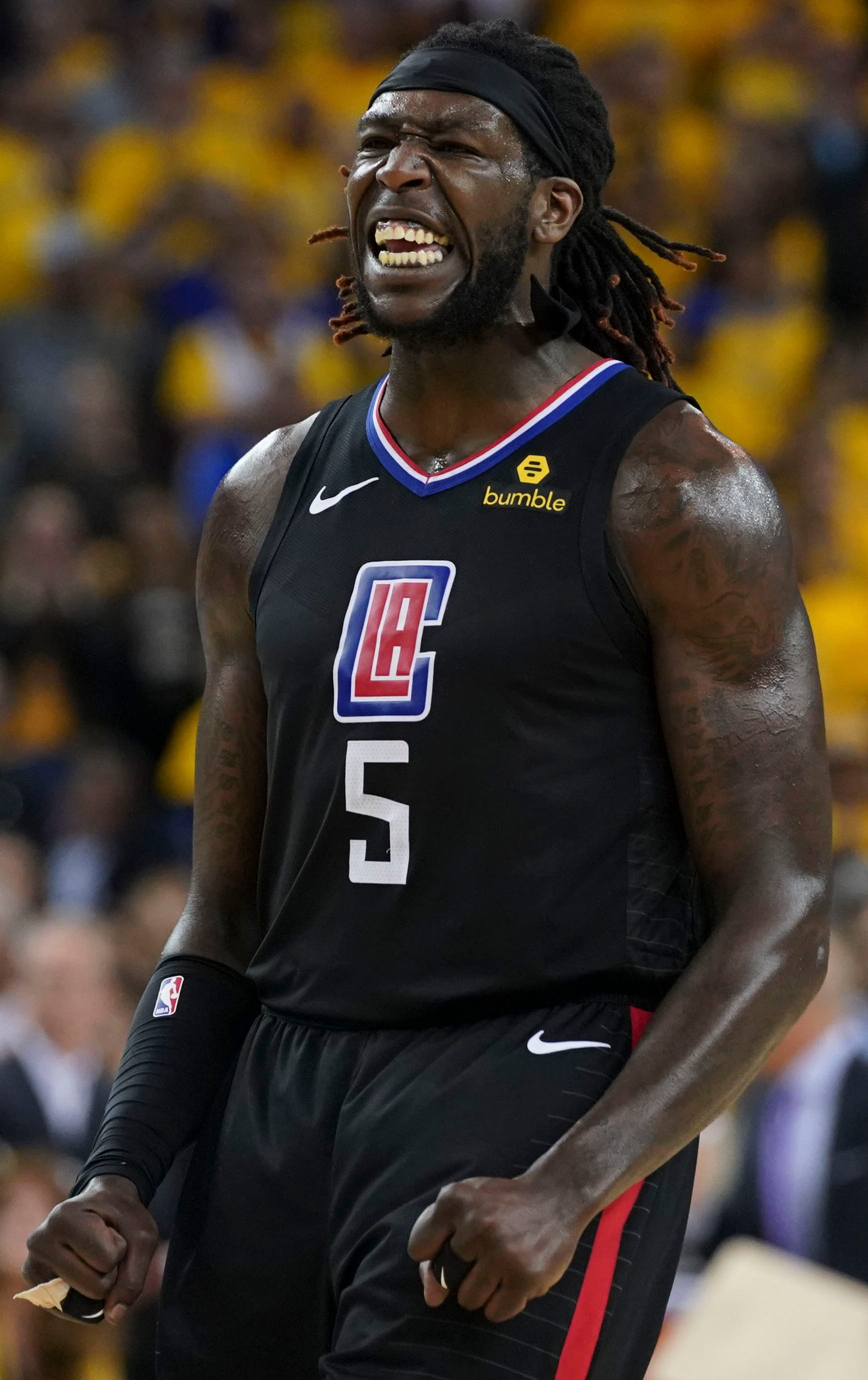 Montrezl Harrell celebrates during the Clippers' Game 2 win over the Warriors.