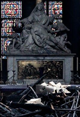 Debris is inside Notre Dame Cathedral on April 16, 2019.