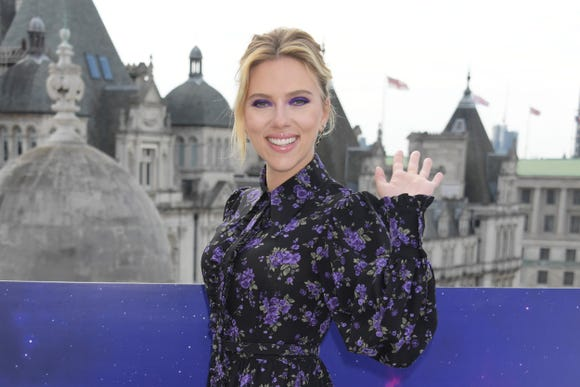 "Scarlett Johansson is hitting the promo trail for ""Avengers Endgame."" On April 11, she waves to fans in London."