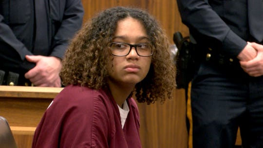 Jada M. McClain is shown in State Superior Court in Freehold during her detention hearing Wednesday, April 17, 2019.  The Neptune teen charged with murdering her newborn infant.