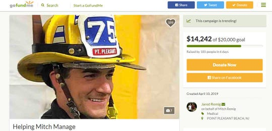 The siblings of a volunteer Point Pleasant firefighter have started a GoFundMe campaign after their brother suffered a serious injury on the job.