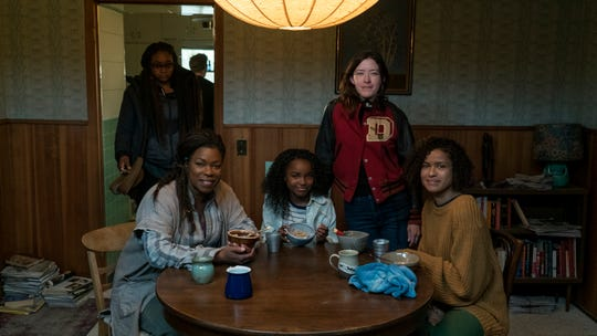 "Lorraine Toussaint, Saniyya Sidney, director Julia Hart and GuGu Mbatha-Raw on the set of ""Fast Color."""