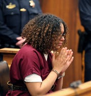 Jada M. McClain is shown in State Superior Court in Freehold during her detention hearing Wednesday, April 17, 2019.  The Neptune teen charged with murdering her newborn infant. Stephanie Dugan is the assistant prosecutor.