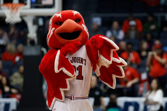 St. John's Red Storm mascot Johnny Thunderbird in the second half against the Arizona State Sun Devils in the First Four of the 2019 NCAA Tournament