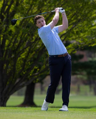 CBA's Jack Wall drives on the tenth. Monmouth County Tournament golf event at Howell Park golf club.