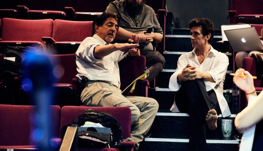 """Ronnie Marmo (right) with """"I'm Not A Comedian ... I'm Lenny Bruce"""" director Joe Mantegna."""