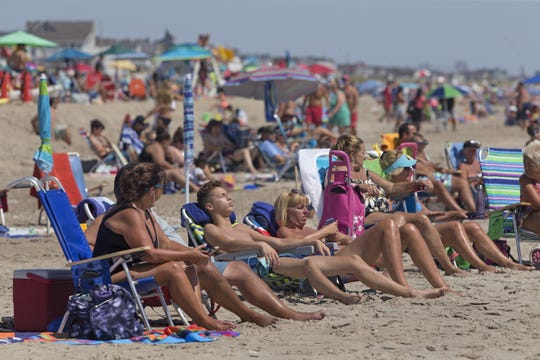 Relaxing on Ortley Beach in Toms River.