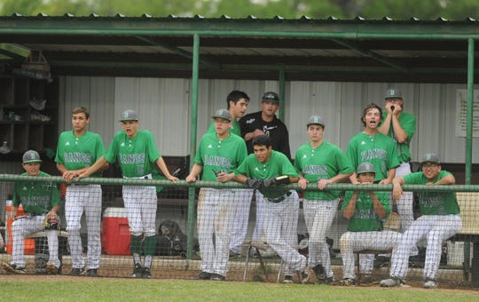 Bangs players make noise in the dugout against Cisco in a District 6-3A baseball game Tuesday, April 16, 2019, in Bangs.