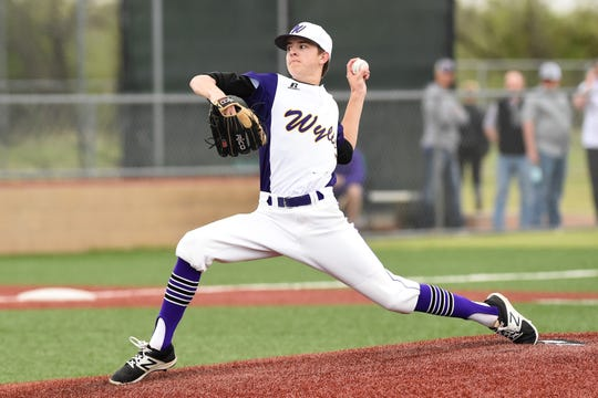 Wylie pitcher Dash Albus (7) delivers to the plate against Wichita Falls Rider on Tuesday, April 16, 2019. Albus pitched 4.1 one-hit shutout innings in the 12-1, five-inning win.