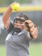 Abilene High pitcher Kaylen Washington eyes the plate as she gets ready to unleash a pitch against Euless Trinity in the third inning of the District 3-6A game Tuesday, April 16, 2019, at the AHS softball field. The Lady Eagles won the game 12-0 to wrap up a 12-0 district title.