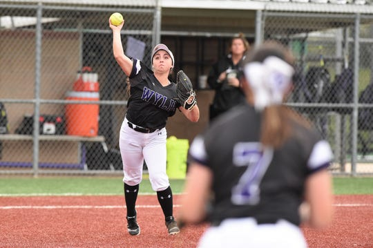 Wylie third baseman Madison Owen (2) throws to first for an out against Wichita Falls Rider on Tuesday, April 16, 2019. Owen had two hits, three RBIs and scored twice in her final game at Lady Bulldog Field.