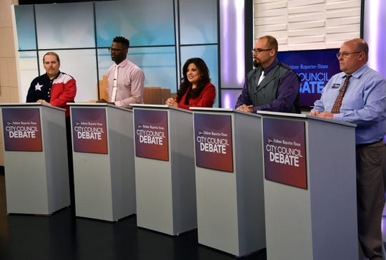 Candidates for Place 6 on the Abilene City Council - from left, Ron Konstantin, Travis Craver, Jessica Cantu, David Turvaville and Charles Byrn - speak Monday April 15, 2019 during a joint KTXS-Abilene Reporter-News debate.