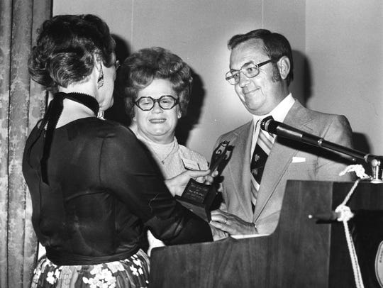 Gary DeShazo in 1977 was honored by the Oro Negra chapter of the American Business Women's Association as Boss of the Year.