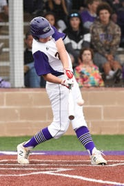 Wylie's Garrett Graham (49) delivers a three-run double against Wichita Falls Rider on Tuesday, April 16, 2019. Graham had two hits and five RBIs in the 12-1, five-inning win.