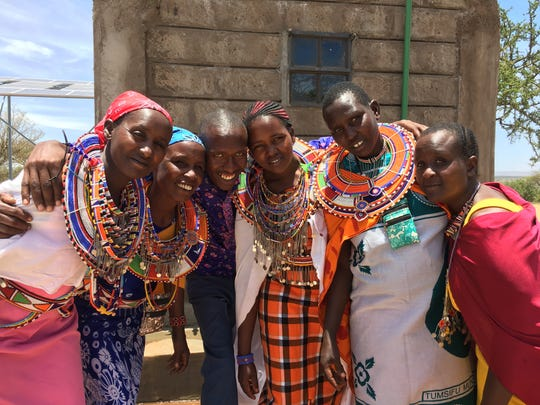 Women in Namelok, Kenya, gather for the opening of the new well.