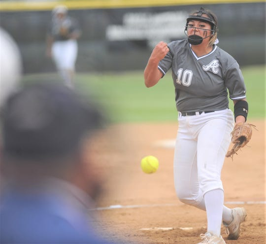 Abilene High pitcher Kaylen Washington throws a pitch in the third inning against Euless Trinity. She allowed one hit and struck out 11 in the Lady Eagles' 12-0 victory over Trinity on Tuesday, April 16, 2019, at the AHS softball field. AHS finished District 3-6A play with a 12-0 record.