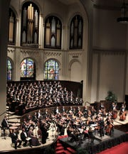 """The sanctuary of First Baptist Church is filled with a combined university choir and the Abilene Philharmonic Orchestra for Saturday evening's performance of Mozart's """"Requiem."""""""