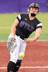Wylie's Kaylee Philipp (3) pitches against Wichita Falls Rider in 2019. The Lady Bulldogs won the District 4-5A title and reached the Region I-5A semifinals a year ago. This year's season was cut short due to the coronavirus pandemic before Wylie began district play. Philipp will remain in Abilene next year to play at ACU.