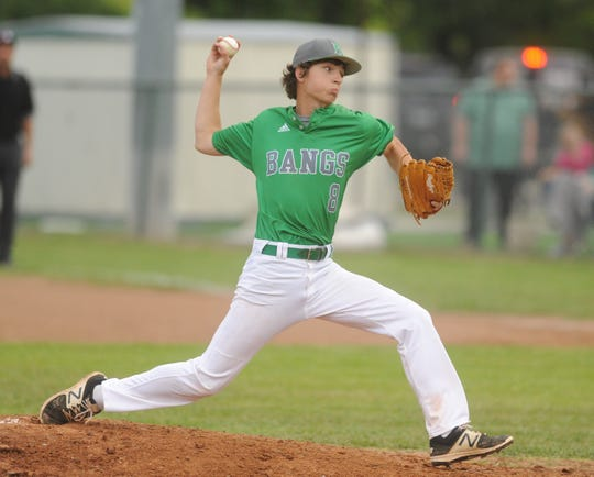 Bangs senior Austin Hall delivers a pitch against Cisco in a District 6-3A baseball game Tuesday, April 16, 2019, in Bangs.