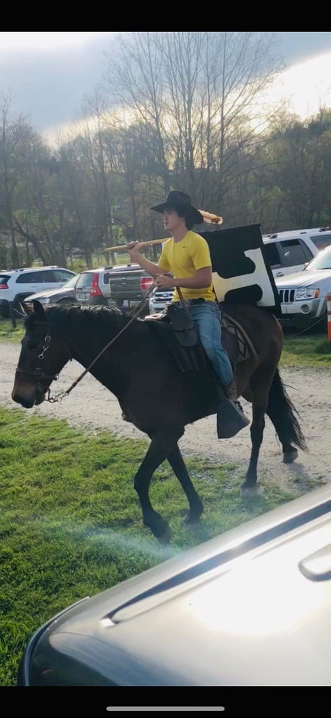 Tuscola sophomore Coleman Cothern brought his horse, Coyote, to the April 17 Tuscola, Pisgah baseball game