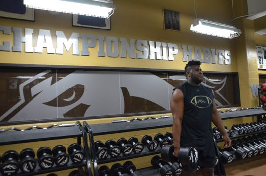 Western Michigan University senior tight end Odell Miller works out in preparation for the 2019 NFL season.