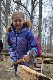 Verona Elementary third grader Tori Richardson uses an ax to chop wood as part of the Pioneer Cabin Program on Tuesday, April 16, 2019.