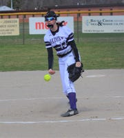 Lakeview's Kaitlyn Love throws home for the Spartans during action earlier this year.