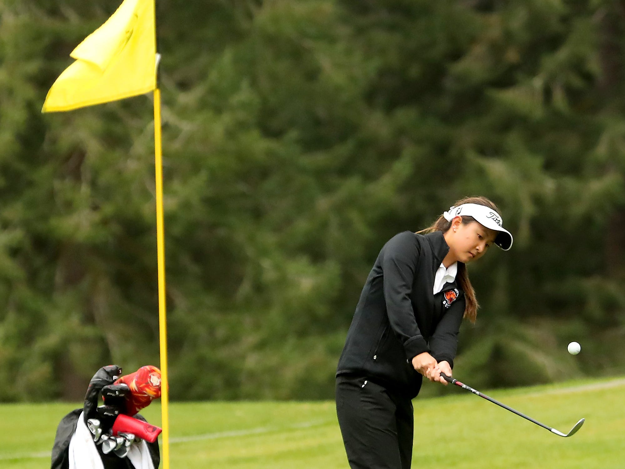 Central Kitsap golfer Brittany Kwon chips a shot onto the green during a match against Shelton at Gold Mountain Golf Club on Tuesday, April 16, 2019.