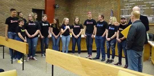 Members of the Bucyrus High School Xband, which made it to the final round of the  Tri-C High School Rock Off competition at the Rock and Roll Hall of Fame in February, are recognized during a Bucyrus City Council meeting on Tuesday.