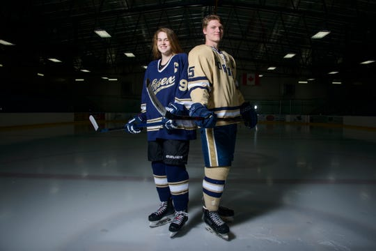 Mr. and Miss Hockey Essex's Jonah Janaro and Olivia Miller-Johnson pose for a portrait at the Essex Skating Facility on Monday evening April 15, 2019 in Essex, Vermont. (BRIAN JENKINS/for the FREE PRESS)