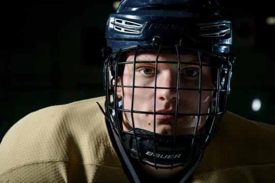 Mr. Hockey Essex's Jonah Janaro poses for a portrait at the Essex Skating Facility on Monday evening April 15, 2019 in Essex, Vermont. (BRIAN JENKINS/for the FREE PRESS)