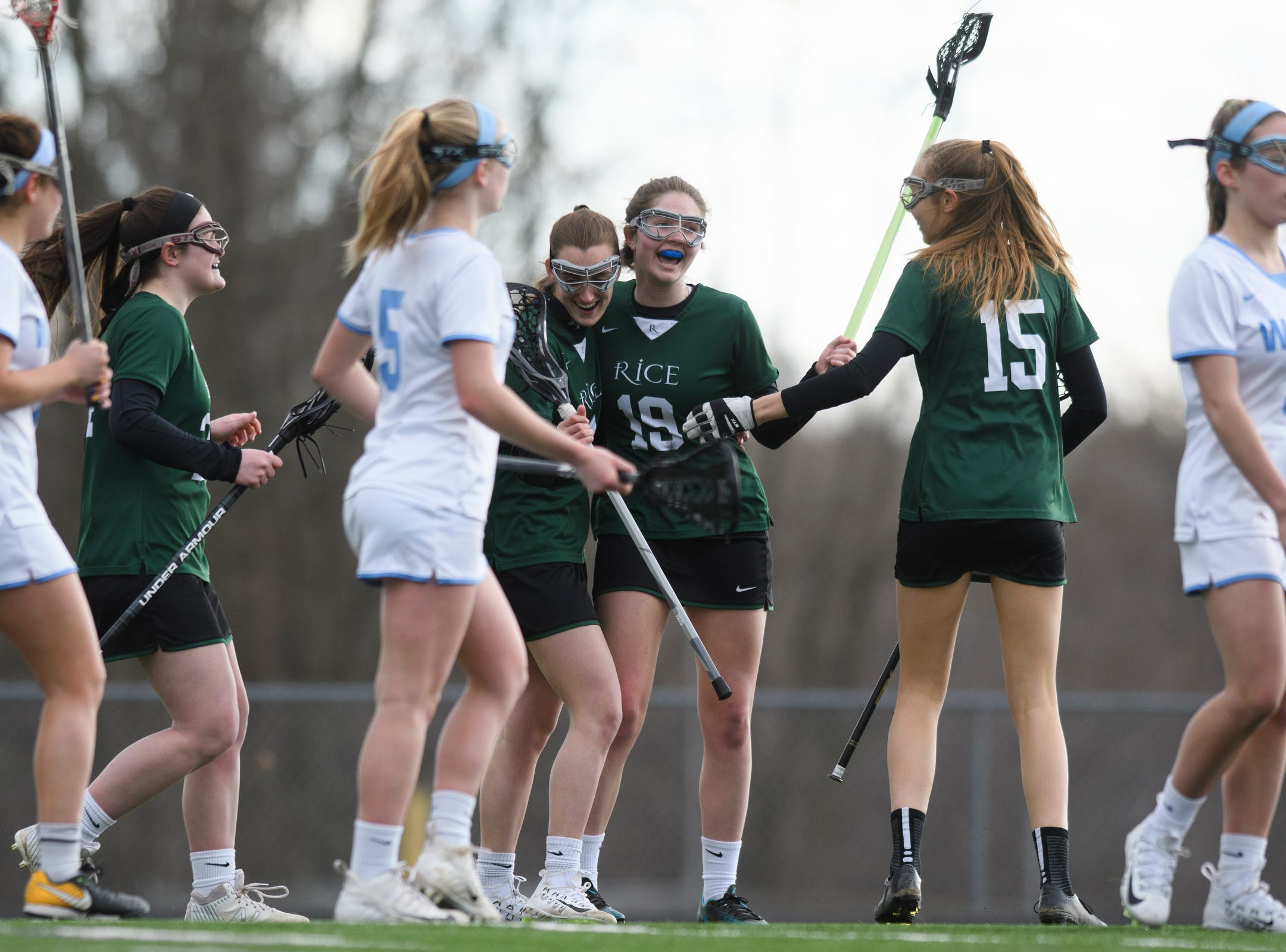 Rice celebrates a goal during the girls lacrosse game between the Rice Green Knights and the South Burlington Wolves at South Burlington High School on Tuesday afternoon April 16, 2019 in South Burlington, Vermont.