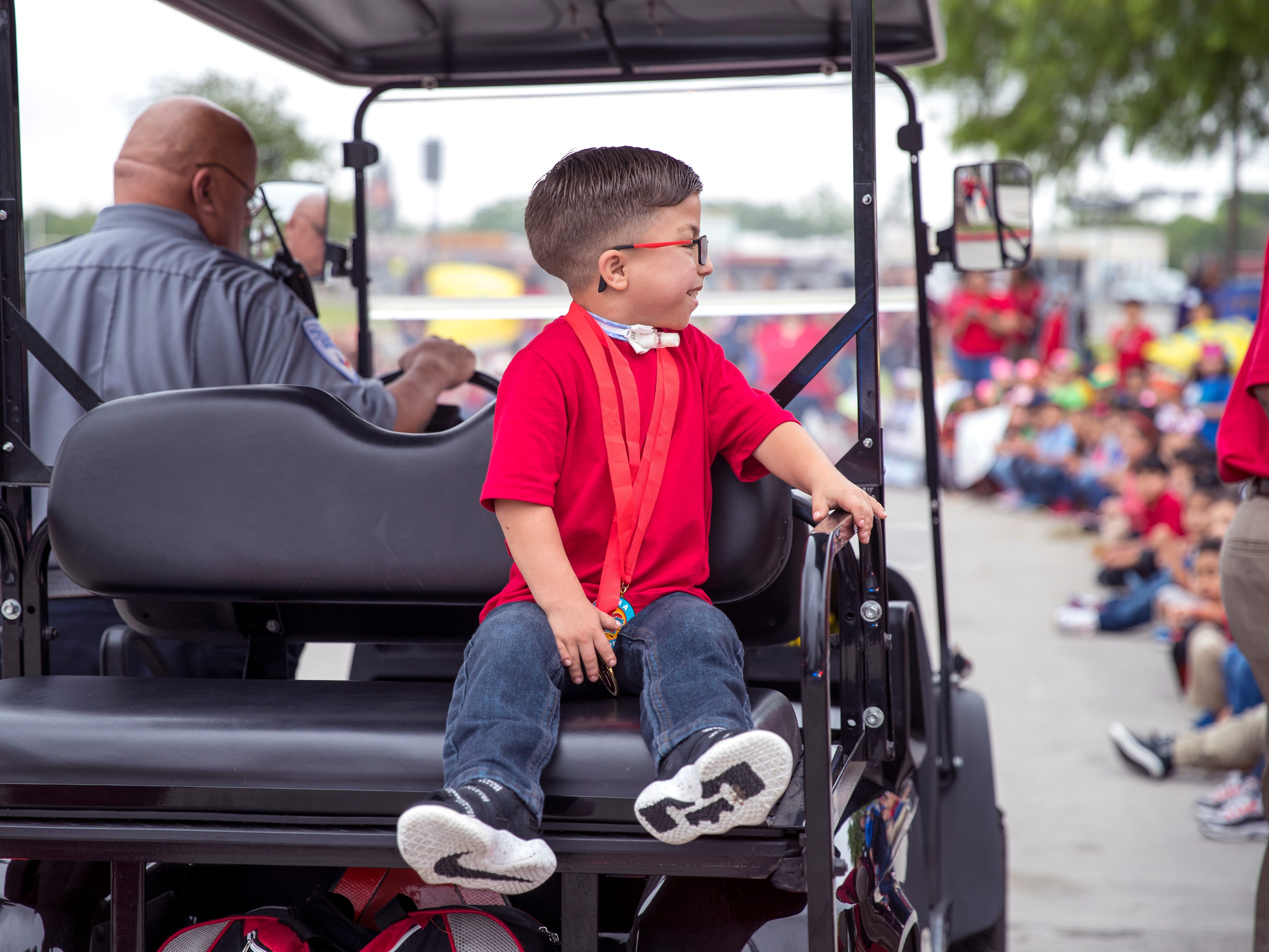 """Ethann Valdez, 9, had a parade in his honor at Garcia Elementary School on Wednesday, April 17, 2019. Diagnosed at the age of five with geleophysic dysplasia (known as dwarfism), Ethann will be out of school for the rest of the year as he undergoes open heart surgery for a valve replacement to the main aorta of his heart. The school wanted to send him off with a """"Best Wishes Parade"""" before he left."""