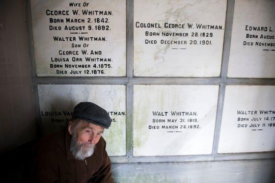 Rocky Wilson inside Walt Whitman's gravesite at Harleigh Cemetery in Camden, N.J Thursday, April 11, 2019.