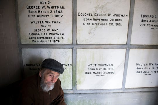 Rocky Wilson inside Walt Whitman's gravesite at Harleigh Cemetery in Camden, N.J Thursday, April 11, 2019.