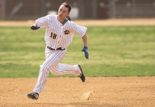 Gloucester Catholic's Jake McNellis runs towards third base during a game earlier this season.
