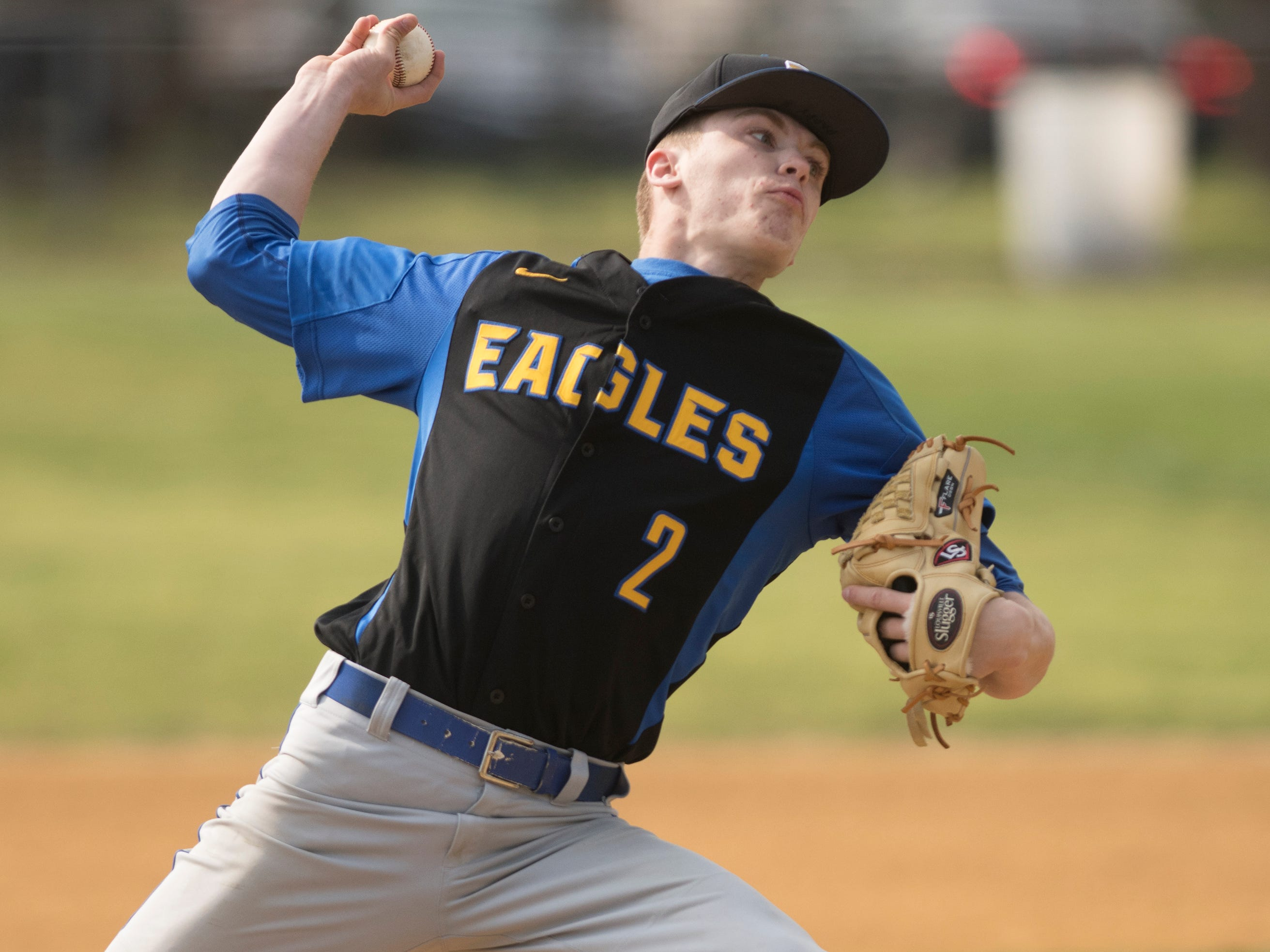 Pennsville's Patrick Montagna delivers a pitch during the first inning of the baseball game between Pennsville and Gloucester Catholic, played at Joe Barth Field in Brooklawn on Wednesday, April 17, 2019.   Gloucester Catholic defeated Pennsville, 13-0.