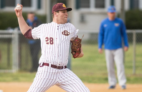 Gloucester Catholic's Luke Lesch delivers a pitch during the first inning of Gloucester Catholic's 13- 0 win over Pennsville at Joe Barth Field in Brooklawn on Wednesday, April 17, 2019.