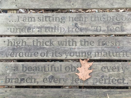 Quotes from Walt Whitman's poems are etched into the walking paths of Crystal Springs, his favorite haunt in Laurel Springs, New Jersey.