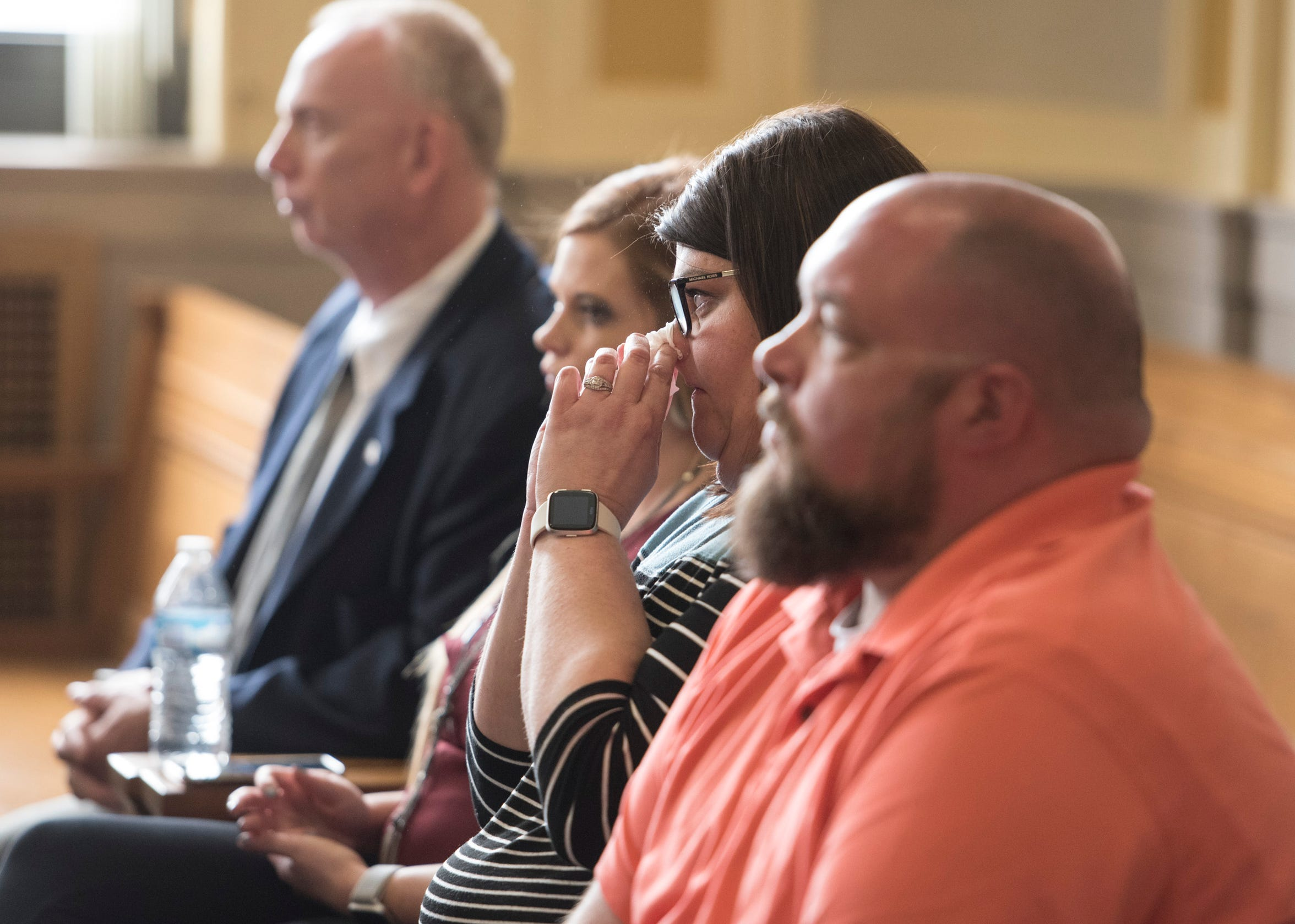 An emotional Shelley Mathias sits in Scioto County Common Pleas Court on Wednesday, April, 17, 2019, as Chillicothe native Casey Pigge pleaded guilty in the brutal attack on her husband Matthew Mathias, who sits beside her, last year at Southern Ohio Correctional Facility.
