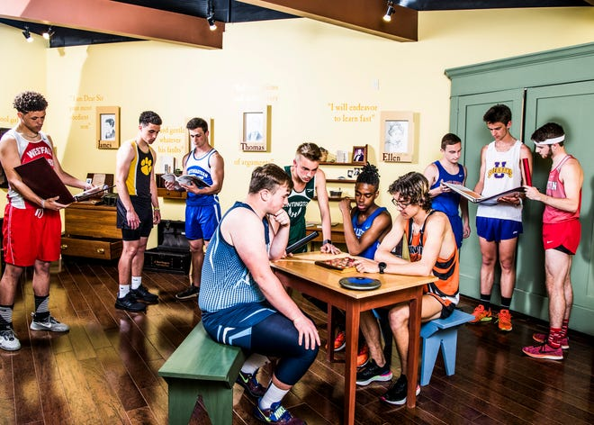 Area track teams look to make history as the first half of the season rounds the corner. (L-R Back) Westfall's Charles Flunder, Paint Valley's Malique Davis, Southeastern's Lane Ruby, Zane Trace's Lance Seymour, Unioto's Tucker Markko, and Piketon's Jarrett Klinker. (L-R Front) Adena's Eric Hurtt, Huntington's Hunter Sheets, Chillicothe's Josh Howard, and Waverly's Aidan Judd. Photo taken inside the children's room at the Adena Mansion and Garden's Historical Site museum.