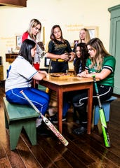 Area softball teams look to make history as the first half of the season rounds the corner. From left to right are Southeastern's Stacia Francis, Piketon's Abby Carter, Paint Valley's Savannah Smith, Waverly's Hannah Robinson, Chillicothe's Alysia Cunningham, and Huntington's Brodey Entler. Photo taken inside the children's room at the Adena Mansion and Garden's Historical Site museum.