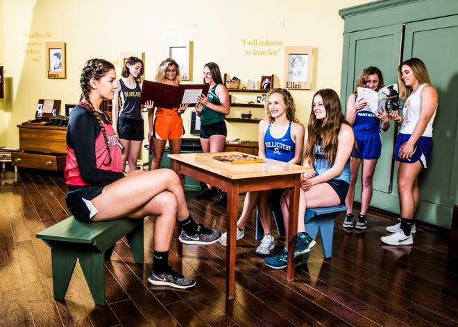 Area track teams look to make history as the first half of the season rounds the corner. (L-R Back) Paint Valley's Grace McAllister, Waverly's Maggie Reisinger, Huntington's Josie Acord, Southeastern's Allisen Jones, and Unioto's Autumn Hice.  (L-R Front) Piketon's Alisha Jones, Chillicothe's Laikin Tarlton, and Adena's Hannah Stark. Photo taken inside the children's room at the Adena Mansion and Garden's Historical Site museum.