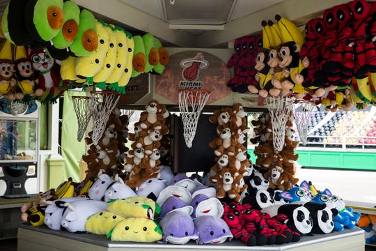 Stuffed animals fill the arcade area at Kings Island that will open to the public for the 2019 season on Saturday.
